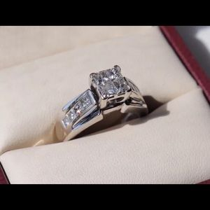 1.02 Carat Tw Quad Princess Ring 14k WG Kay Sz 4.5